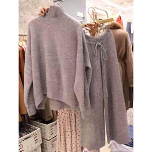 autumn winter turtleneck sweater and pullovers warm knitted 2 piece set elastic waist knit ants suit tracksuit loose