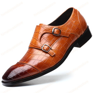 New Men leather shoes business dress suit shoes men Bullock genuine leather black slipon wedding mens shoes