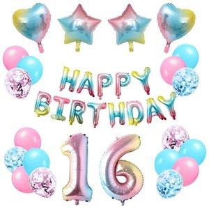 Rainbow 16th Decoración de cumpleaños Feliz Cumpleaños Banner Heart Heart Aluminio Foil Globo para niñas y mujeres fiesta