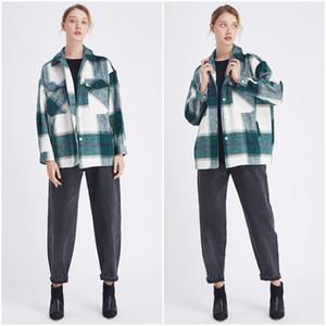 Dropship Plaid Jacket Vintage Stylish Pockets Oversized Jacket Shirts Coat Women Fashion Lapel Collar Long Sleeve Loose Outerwear Chic Tops