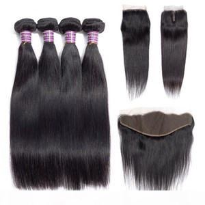 Cheap Brazilian Straight Human Hair Weave Bundles with Closure 100% Unprocessed Virgin Hair 3 Bundles with Lace Frontal Hair Extensions