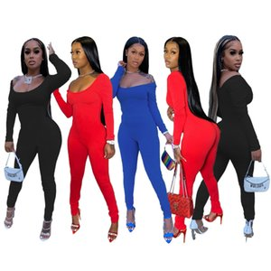 Autumn And Winter 2020 New women's sexy fashion u collar Sport Wear Casual Jumpsuit Solid color Skinny Sexy Playsuit Women Fitness Rompers