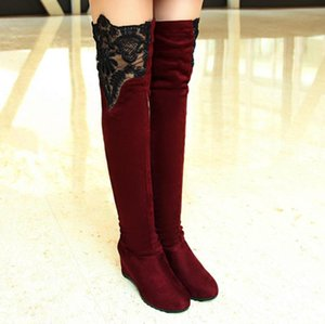 Women's Lace Knee High Boots Wedges Ladies Shoes with thick scrub Casual Over-The-Knee Booties Plus size 43 Botas Mujer