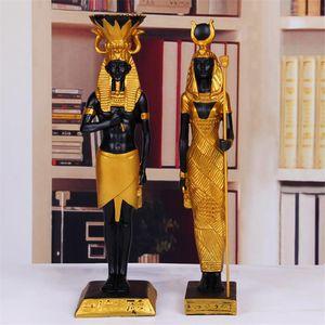 2 unids / set antiguo Egipto Dios Faraón Dios de la guerra Estatua de la guerra Resina Crafts Cleopatra Art Sculpture Home Desktop Decoration Souvenir