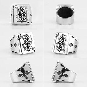 Grim Reaper Poker King Skull Stainless Steel Mens Rings Gothic Punk For Male Boyfriend Biker Jewelry Creativity Gift Wholesale sqcAgb