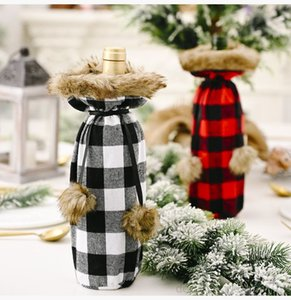 Plaid Bag Christmas Dinner Table Decoration Red Black Wine Bottle Cover Clothes Party Supplies OWE789