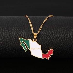 Mexiko-Karten-Flagge Emaille-Anhänger-Halsketten-Goldfarben-Wellen-Kette Frauen-Halskette Schmuck mexikanische patriotische Geschenke