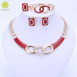 5Colors Jewelry Sets Necklace Ring Bracelet Earrings Wedding Gold Color For Women Crystal Maxi Dress Accessories Z1201