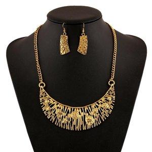 LZHLQ Vintage Ethnic Geometric Hollow Choker Statement Necklace Set Women 2 Colors Zinc Alloy Necklaces Trendy Collares Collier