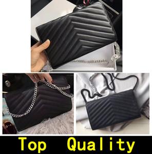 Handtasche Top Qualität Echtes Leder Mode Crossbody Bag Metal Kette Handtaschen Flip Cover Brieftasche Geldbörse Diagonale Frauen Umhängetaschen mit Box