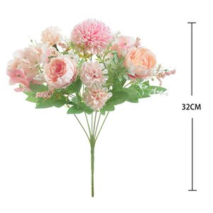 Bride holding Roses bouquet wedding decorative flowers vases for home decoration accessories Artificial flowers for scrapbooking 126 G2