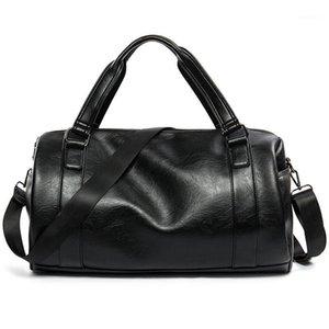 Men Cylinder Handbags High Quality PU Leather Travel Luggage Suitcase Unisex Fashion Business Sport Duffel Crossbody Bags S0801