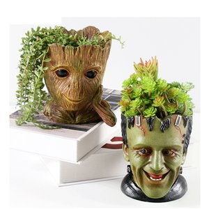 GLLead Groot Resin Flower Pot Cute Planter Action Figures Tree Man Creative Model Toy Pen Garden Flowerpot Home Decorate Q1125
