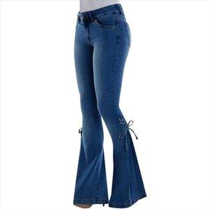 Womens Plus Size Jeans Flare Pants Loose Denim Bow tie Elastic Trousers for Womens 2019 Autumn Clothes women jeans pants ED
