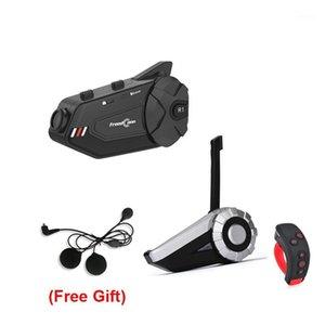 T-Rex + L3 + R1 mais Motocicleta Bluetooth Group Capacete Capacete Headset 1500m 8 Pilotos Comunicador Sem Fio com Suporte FM1