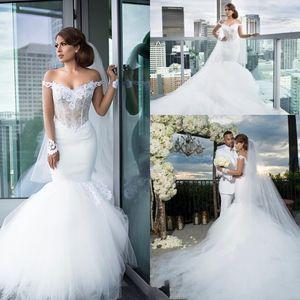 Gorgeous Long Sleeves Mermaid Wedding Dresses 2021 Off Shoulder Appliques Lace Illusion Bodice Chapel Train Bridal Gowns Robe De Soiree