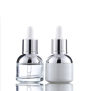 30ml Glass Serum Bottle Pearl White Transparent Cosmetic Essential Oil Packaging Dropper Bottle with Plastic Plug