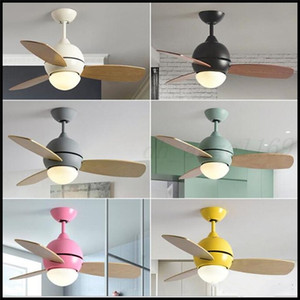 36 Inch Nordic Lovely Macaron Led Ceiling Fan Light Creative Kitchen Kid 's Room Decro Fan Light Bar Dining Room Lights