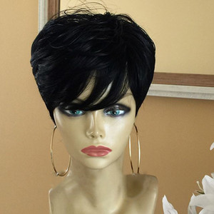 Short Pixie Lace Wigs Pixie Cut Wig Straight Brazilian Remy Hair 150% Density lace front Human Hair Wigs For Women
