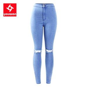 2042 YouAxon Frauen High Single Stretch Ripping Knie betroffene Skinny Denim Jean Boek Jeans Frau