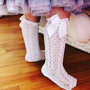 Stile spagnolo Calzini per bambini Ragazze Ginocchia calze al ginocchio con fiocchi Toddlers Tube Bambini lunghi Scava fuori Princess Sock Infant Socken