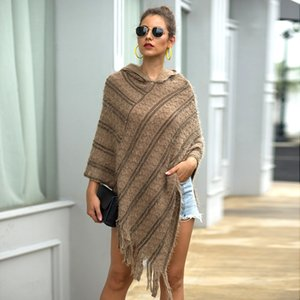 christmas sweater Cape Hooded Cloak winter clothes women plus size pullover ponchos and capes tassels long coat Striped