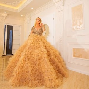 Luxury Gold Evening Dresses with Floral Applqiued Ball Gown Graduation Robes Prom Dress Ruffles Ruched Vestidos De La Celebridad