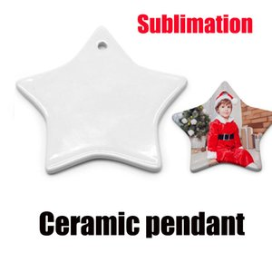 sublimation ceramic pendant love heart Five-pointed star round double surface DIY blank white heat transfer printing christmas ornaments gif