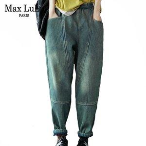Max Lulu 2020 Moda coreana Winter Womens Vintage Denim Broek Señoras sueltas cálidas Bancos Jeans Femenino Causal Elástico Harm Book