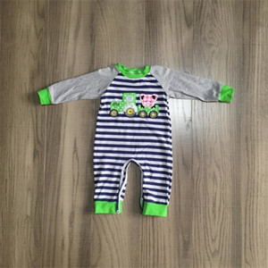 Girlymax baby boys girls Toddler grey navy stripe truck farm yard clothes infant romper cotton romper long sleeve ruffles W1218
