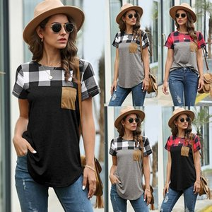 2020 Summer Explosion New Cross-border Women's Wear Hot Round Neck Plaid Stitching T-shirt Top Shirts For Women