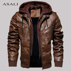 Casual Motorcycle PU Jacket Mens Winter Autumn Fashion Leather Jackets Male Slim Removable Hooded Warm Outwear Fleece Clothing