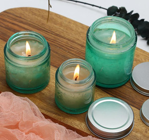 80g 120g 200g green large mouth glass empty jar for scented candle DIY handmade candle empty can SN2930