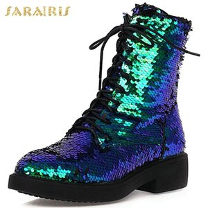 SARAIRIS Big Size 43 Chunky Heels Fashion Brand Sequined Winter Shoes Women Ankle Motorcycles Boots Female