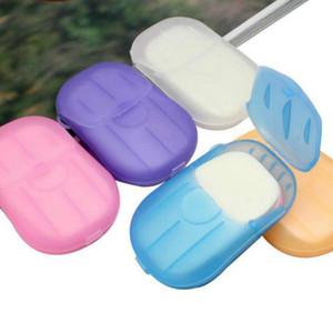 20pcs / box / scatola di sapone monouso mini da viaggio tablet tablet fogli lavaggio a mano bagno pulizia sapone carta cyz2964