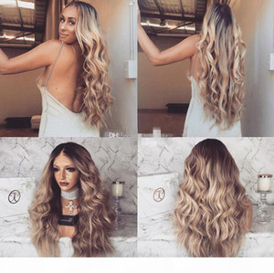 Lace Front Human Hair Wigs Ombre T1b 18 Wavy 150 Density Natural Wave Malaysian Virgin Hair Pre-plucked Hairline With Baby Hair