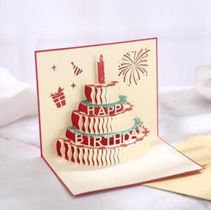 جديد وصول عيد ميلاد كعكة 3d المنبثقة هدية تحية 3d نعمة بطاقات اليدوية ورقة الصلصال الإبداعي سعيد بطاقات عيد الميلاد GWD3244