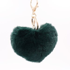hawaii personalied colorful Fashion love heart-shaped plush keychain lovers imitation rex rabbit fur ball bag pendant car ornament wholesale