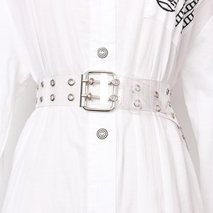 [LFMB]Two Row PVC Clear Belt For Women Fashion Pin Buckle Female White Waist Trousers Transparent Belts Ladies Jeans Grom Y200501