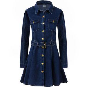Jeans Dress women spring Autumn Long Sleeves Turn Down Collar Single-breasted Jeans Dress Ladies Slim Casual Cowboy Dresses belt