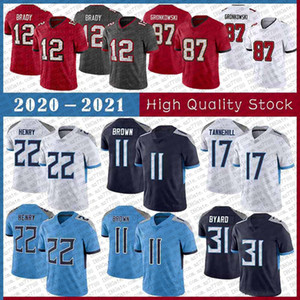 22 Derrick Henry 17 Ryan Tannehill 31 Kevin Byard 11 AJ Brown Football Jersey 12 Tom Brady 87 Rob Gronkowski 81 Antonio Brown 13 Mike Evans