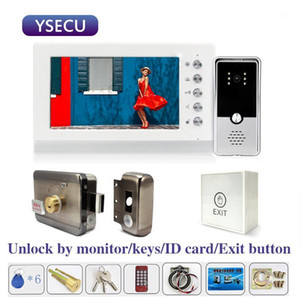 YSECU 7 inch 1000TVL HD Video intercom with Lock for Apartment Home Electric Lock Door Access Control 3A Power exit button1