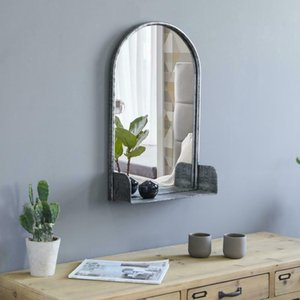 """24""""H Wall Hanging Mirror Rustic Metal Frame Arched With Shelf Wall Decorative"""