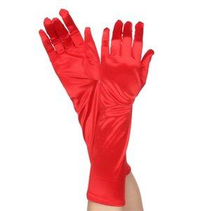 50cm Classic Black White Red Grey Skin Opera Elbow Wrist Stretch Satin Finger Long Gloves Wedding Gloves for Women