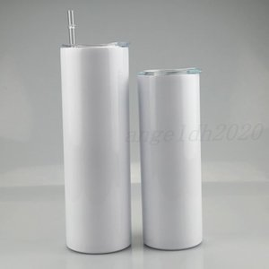 20oz Sublimation Straight Skinny Tumbler 20oz Stainless steel blank white skinny cup with lid straw Cylinder water bottle coffee