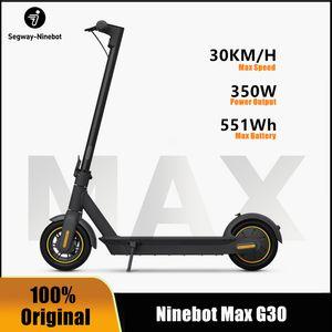 Scooter électrique intelligent original NineBot Max G30 pliable 65km max kilométrage kickcooter double skateboard de frein avec application