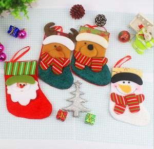 Mini christmas socks 4style cute candy gifts sacks santa claus bear deer pattern christmas decoration socks