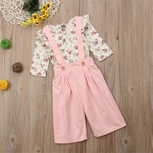 2pcs Sets Long Sleeve Lovely Toddler Pink T-Shirts Floral Kids Rompers Fashion Baby Girl Clothing Set Autumn 25mq K2