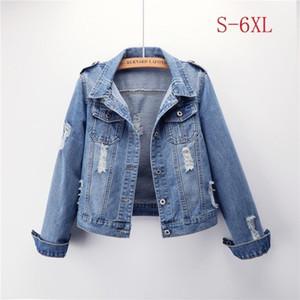 Plus Size 5XL 6XL Short Jeans Jacket 2020 Spring Denim Jackets Coats Women Slim Chaqueta Mujer Outwear Casaco Feminino ZH013
