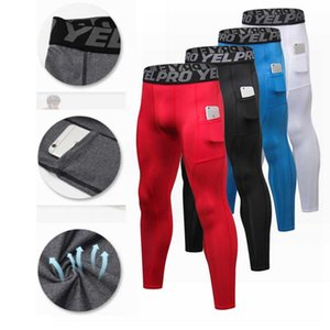 Men's Sports Compression Training Running Pants with Pocket Elastic Sports Fitness Training Cycling Base Layers Trouse